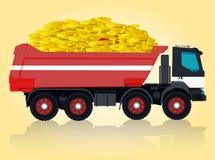 Den röda och vita stora lastbilen tar guld- mynt Arkivbilder