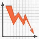 Den röda pilen ansar ner på diagrammet vektor illustrationer
