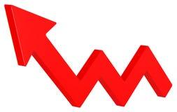 Den röda pilen flyttar sig upp Grafisk design för vinst vektor illustrationer