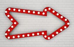Den röda pilen med ljusa kulor på vit målade tegelstenväggen royaltyfri illustrationer
