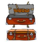 Den röda resväskan är öppen och stängd Designen av loppet hänger löst isola Royaltyfri Fotografi