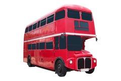 Den röda retro bussen på vit bakgrund Royaltyfri Bild