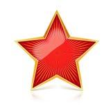Den röda stjärnan med den guld- kanten och att utstråla för metall från mitten rays Realistiskt symbol av USSR med reflex och royaltyfri illustrationer