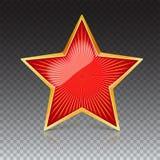 Den röda stjärnan med den guld- kanten och att utstråla för metall från mitten rays Realistiskt symbol av USSR med reflex och vektor illustrationer