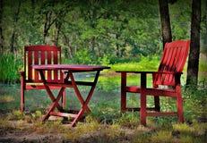 Den röda stolen II royaltyfri bild