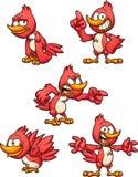 Den röda tecknad filmfågeln i olikt poserar stock illustrationer