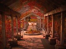 Den röda trädgården Royaltyfria Foton
