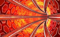 Den röda tunnelbanatunnelen 3d framför royaltyfria foton