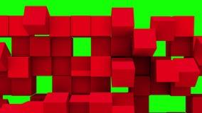 Den röda väggen av kuber faller ifrån varandra royaltyfri illustrationer