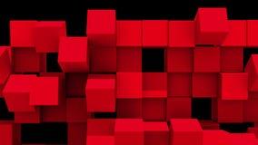 Den röda väggen av kuber faller ifrån varandra stock illustrationer