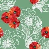 Den röda vallmo, vita blom- garneringar, vattenfärg, mönstrar sömlöst Arkivfoto