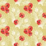 Den röda vallmo, vita blom- garneringar, vattenfärg, mönstrar sömlöst Royaltyfria Bilder