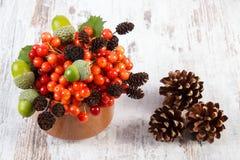 Den röda viburnumen med alkotten, ekollonar och sörjer kottar på lantlig träbakgrund Royaltyfria Bilder