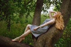 Den rödhåriga flickan som ligger på trädet i skogen Royaltyfri Foto