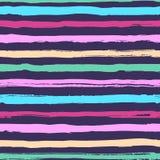 Den randiga sömlösa modellen, hand-drog färgrika band borstar, moderiktig marin- stil royaltyfri illustrationer