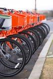 Den rangordnade apelsinen och Gray Bicycles förväntar cyklister Arkivbild