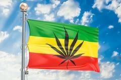 Den Rasta flaggan, cannabis spricker ut på den Rastafarian flaggan framförande 3d royaltyfri illustrationer