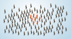 Den röda affärsmannen Group Team Human Resource Recruitment Candidate, affärsfolk tränger ihop det isometriska hyrabegreppet 3d Arkivfoto