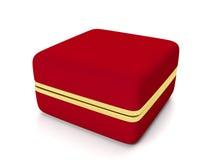 Den röda gåvan boxas för guld- smycken Royaltyfri Fotografi