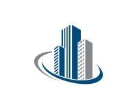 Den Real Estate egenskapen och konstruktionslogoen planlägger för företags tecken för affär Arkivbild
