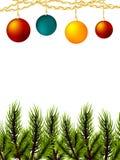 Den realistiska bollfilialen för glad jul sörjer trädet Arkivbilder