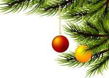 Den realistiska bollfilialen för glad jul sörjer trädet Royaltyfria Bilder
