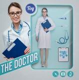Den realistiska dockan för kvinnlig doktor Royaltyfria Bilder