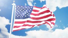 Den realistiska flaggan av USA som vinkar mot Time-schackningsperiod, fördunklar bakgrund Sömlös ögla i upplösning 4K med detalje stock illustrationer
