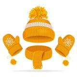 Den realistiska hatten 3d med en Pompom, en halsduk och en tumvante ställde in vektor Arkivfoton