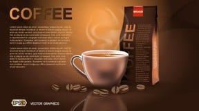 Den realistiska varma mallen för modellen för kaffekoppen och packeför att brännmärka, annonserar produktdesigner Ny ånga drink i vektor illustrationer