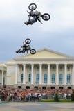 Den Red Bull X-kämpar utställningen turnerar Tyumen Ryssland Arkivbild