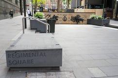 Den regements- fyrkanten är en krigminnesmärke i det Wynyard området i stadsmitten av Sydney, New South Wales royaltyfria foton