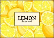 Den rektangulära etiketten på den citrusa citronen bär frukt bakgrund Vektorkortillustration Arkivfoto