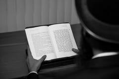 Den religiösa judiska mannen läser Torahen i synagogan arkivbilder