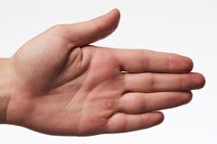 Den rena handen gömma i handflatan med blåsan arkivfoton