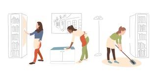 Den rengörande serviceflickan med trasan torkar spegeln stock illustrationer