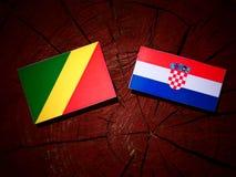 Den Republiken Kongo flaggan med den kroatiska flaggan på en trädstubbe är Arkivfoto