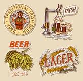 Den Retro bayerska ölmannen, gröna flygturer, råg och vete, jubel rostar alkoholiserade etiketter och klistermärkear med calligra royaltyfri illustrationer