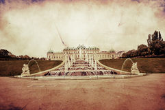 Den Retro bilden av belvederen parkerar i Wien, Österrike royaltyfri bild