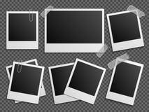 Den Retro fotopolaroiden inramar vektoruppsättningen för familjalbum Fotografering för Bildbyråer