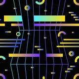 Den Retro futuristiska sömlösa modellen med lutningen färgade horisontalband, ringer och cirklar på svart bakgrund vektor illustrationer