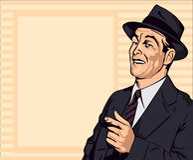 Den Retro mannen har gyckel och pekar fingret, vektorbild stock illustrationer