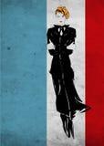 Den Retro modekvinnan i en svart dräkt, skissar Arkivbild