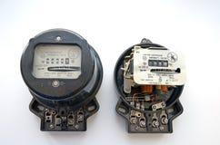 Den Retro, parallella elektriska singel-fasen metern producerades på de statliga växterna av USSR royaltyfria foton