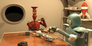 Den Retro roboten reparerar hans hand, tolkningen 3d stock illustrationer