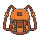 Den Retro ryggsäcken av vattentätt beige tyg med många stoppa i fickan stock illustrationer