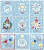 Den Retro samlingen för pastellblåttjulkort för vinterferier med den pappers- för snittet xmas-kransen ut med barrträdet förgrena royaltyfri illustrationer