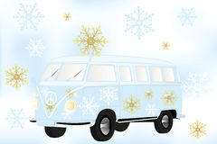 Den Retro skåpbilen med vita och guld- snöflingor - lagerföra illustrationen Arkivbilder