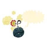 den retro tecknade filmen bombarderar teckenet med anförandebubblan Arkivbild