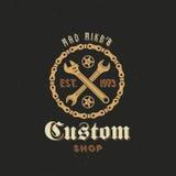 Den Retro vektorcykelegenn shoppar etiketten eller logo Royaltyfria Foton